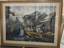 Sale 9135 - Lot 2029 - Artist Unknown A Chinese Canal scene acrylic, frame 112 x 147 cm, unsigned