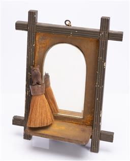 Sale 9185E - Lot 32 - A timber framed arch top mirror, Height 34.5cm, together with a shaving brush with bear finial, Length 15.5cm