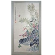 Sale 8268 - Lot 18 - Wen Xiaohai Signature Flowers & Frog Hand Painted Watercolour Scroll