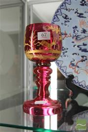 Sale 8217 - Lot 67 - Red Glass 19th Century Goblet With Gold Inlay