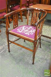 Sale 8267 - Lot 1021 - Late Victorian Inlaid Fruitwood Tub Chair, with pierced splats, upholstered tapestry seat & turned legs