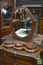 Sale 8335 - Lot 1016 - Victorian Mahogany Toilet Mirror, with oval mirror, carved roses & shaped base with hinged compartment