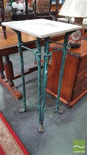 Sale 8404 - Lot 1039 - Marble Top Metal Base Jardiniere Stand