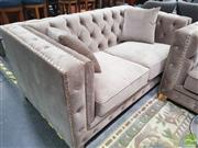 Sale 8440 - Lot 1023 - Soft Velvet Two Seat Sofa with Diamond Buttoning and Gold Trim Detailing and Gold Metal Legs (H 73 x W 158 x D 95cm)