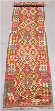 Sale 8438K - Lot 48 - Summer Afghan Tribal Kilim Runner | 310x89cm, Pure Wool, Finely handwoven in Northern Afghanistan using high quality local wool. Vib...