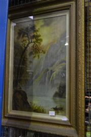 Sale 8563T - Lot 2219 - Artist unknown (C19th) - River Highland Scene and Figure on Boat, oil on board, 45.5 x 29cm, unsigned