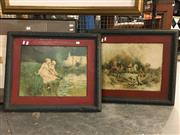 Sale 8779 - Lot 2087 - Pair of Vintage French Prints on Tin in Frames