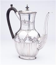 Sale 9015J - Lot 98 - A quality antique English silverplate coffee potC: 1900, hand engraved with leaf and floral  garlands above the half fluted body, fi...