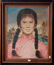 Sale 9077 - Lot 2025 - K. Charles Young Chinese Girl & View of Junk Ships, oil on canvas, frame: 58 x 48 cm, signed
