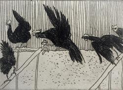 Sale 9091A - Lot 5012 - William Robinson (1936 - ) - Rooster in Fight with Hens, 1979 39 x 32.5 cm (49 x 42 cm)