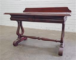 Sale 9102 - Lot 1085 - Timber hall table with two drawers on stretcher base (h82 x w122 x d65cm)