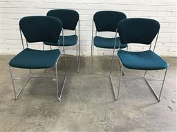 Sale 9102 - Lot 1011 - Set of four Perry metal frame blue upholstered dining chairs (h:80 x w:44 x d:48cm)