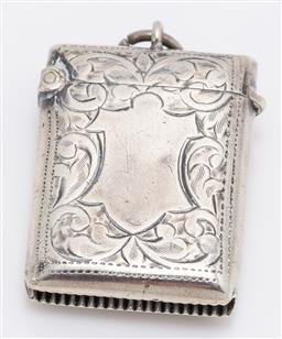 Sale 9180E - Lot 49 - An Edwardian sterling silver rectangular vesta with blank cartouche, Birmingham, c. 1908 by H.H, Length 4cm, weight 18g