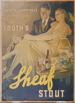 Sale 9188 - Lot 1002 - Vintage framed Tooths Sheaf Stout poster by R. Wenban of the Carlton Artists (109 x 84cm)