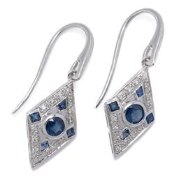 Sale 9209J - Lot 400 - A PAIR OF DECO STYLE 9CT WHITE GOLD EARRINGS; each a lozenge shape mount set with mixed cut blue sapphires and round brilliant cut d...