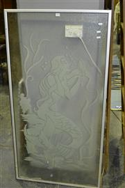 Sale 8013 - Lot 1054 - Etched Glass Shower Screen with Mermaid
