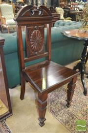 Sale 8267 - Lot 1055 - Pair of Late Victorian Possibly Walnut Hall Chairs, with oval medallion, timber seat & tapering legs