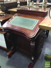 Sale 8409 - Lot 1691 - Carved Timber Davenport with Green Leather Inlaid Writing Slope