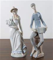 Sale 8486A - Lot 29 - A Nao figure of an accordion player, H 38cm, together with a Zaphir figure of a lady with a bunch of flowers