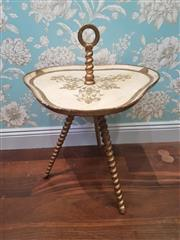 Sale 8500A - Lot 6 - A vintage Italian Floretine 3 legged barley twist Side Table featuring kidney shaped top and handle - Condition: Very Good with some...