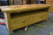 Sale 8523 - Lot 1065 - Oak Parquetry TV Unit (H 55 x L 140 x W 45cm)