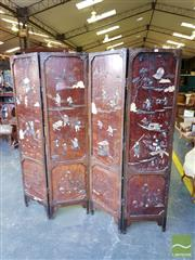Sale 8539 - Lot 1098 - Chinese Lacquered, Stone & Bone Inlaid Four Panel Screen, the main panels depicting village scenes, with floral panels below, the re...