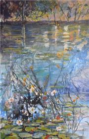 Sale 8563T - Lot 2014 - Ghyslaine Bluett - Sunset Yellow Waters, Kakadu, mixed media on paper, 53 x 35cm, signed lower right
