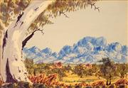Sale 8647 - Lot 584 - Albert Namatjira, Junior (1955 - ) - Central Australian Landscape 16.5 x 23cm