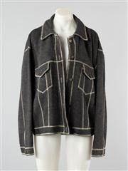 Sale 8740F - Lot 26 - A Nicole Farhi virgin wool field jacket in charcoal with exposed white stitching, size large