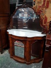 Sale 8774 - Lot 1053 - Victorian Burr Walnut Credenza, the shaped carved mirror back above a marble top & three shaped panel doors (2 keys in office)