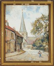 Sale 8784 - Lot 2020 - Philip Eustace Stretton (1865 - 1919) - Godalming Church of St Peter and St Paul, 1913 34 x 26cm