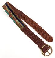 Sale 9071F - Lot 42 - A LUCKY BROWN FABRIC AND LEATHER BELT; size S