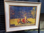 Sale 9077 - Lot 2015 - Artist Unknown Bull Fighting, oil on board,  frame; 42 x 53 cm, signed lower right