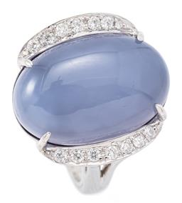 Sale 9132 - Lot 520 - AN 18CT WHITE GOLD DIAMOND AND STONE SET RING; centring a 19 x 12mm cabochon blue chalcedony flanked by 14 round brilliant cut diamo...