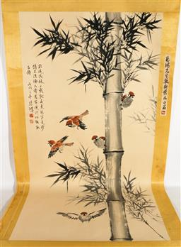 Sale 9138 - Lot 182 - Chinese Painted Scroll Decorated with Birds