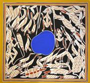 Sale 8260A - Lot 55 - Kenneth Wark Yungamulwoi (c.1947 - ) - Hunting for Bush Tucker around Billabong, 2004 114 x 121.5 (framed & ready to hang)