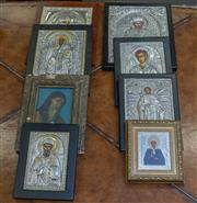 Sale 8310A - Lot 76 - A selection of mainly silver religious icons together with a framed early portrait of a religious man, oil on canvas.