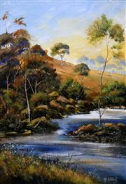 Sale 8563T - Lot 2009 - Gill Ward - A Bend in the River, Barrington Tops, gouache, 52.5 x 36cm, signed lower right