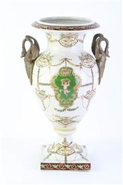 Sale 8778 - Lot 330 - Swan Handled Urn with Cherubic, Fauna & Floral Patterning -