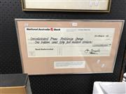 Sale 8797 - Lot 2159 - Faux Bond Media Limited Cheque for Channel 9