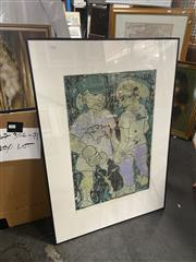 Sale 8906 - Lot 2097 - Julie Gorring - Couple, screenprint, 101 x 71cm(frame) signed lower right (frame a/f/, crack to glass)