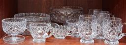 Sale 9098H - Lot 69 - A shelf lot of cut crystal table wares including four bowls, two sauce jugs and five mugs in various sizes.