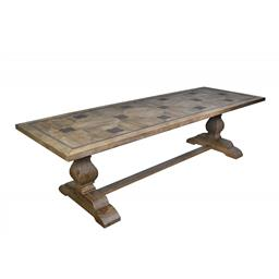 Sale 9140F - Lot 234 - Large country style reclaimed Elm double pedestal dining table with stretcher bar. Featuring parallel lines of aged metal clover inl...