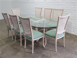 Sale 9151 - Lot 1371 - Glass top dining table on fluted base with 8 rattan back chairs (h:76 w:218 d:110cm)