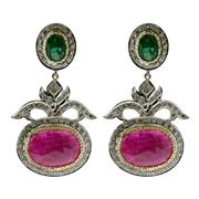 Sale 8087B - Lot 387 - A PAIR OF RUBY EMERALD AND DIAMOND EARRINGS; set in silver and gilt with oval faceted rubies and emeralds and round cud diamonds, 4.5cm