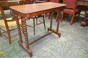 Sale 8267 - Lot 1020 - Victorian Walnut Hall Table, on bobbin turned supports & stretcher