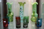 Sale 8340 - Lot 91 - Victorian Green Glass Vases with Other Glass Wares incl Coloured Beakers