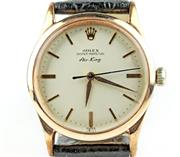 Sale 8402W - Lot 53 - ROLEX OYSTER PERPETUAL AIR KING AUTOMATIC WRISTWATCH; ref; 5506 cream matte dial with applied baton markers, centre seconds on 25 je...