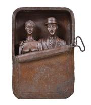 Sale 8401 - Lot 526 - Benjamin Levy (1940 - ) - Untitled (Two Figures in a Sardine Can) h. 34cm, w. 23.5cm, d. 7.5cm