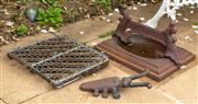 Sale 8677A - Lot 18 - Cast iron boot scraper, boot pull and other items